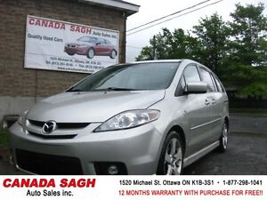 2007 Mazda5 GT (6 SEATER) LOADED/ ROOF, 12M.WRTY+SAFETY $4990