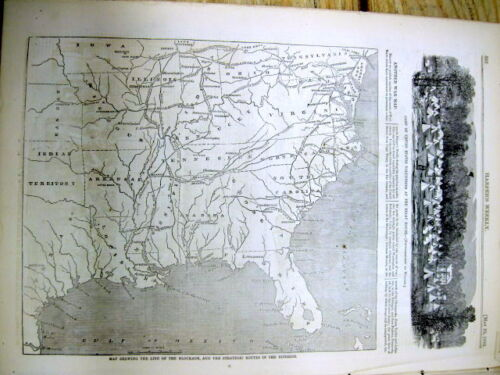 1861 Civil War illustrated newspaper Lrg early MAP CONFEDERATE STATES OF AMERICA