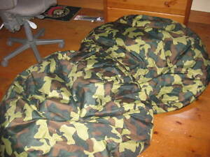 2 camoflage bean bags for sale