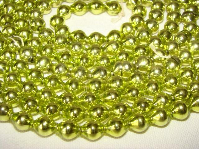 "Gorgeous Old 88"" CHARTREUSE GREEN CHRISTMAS Tree Mercury Glass Bead GARLAND"