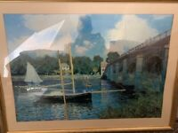 Framed bridge and boats print