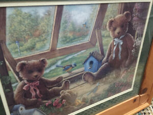 """wall art very good condition with wooden frame 25 x 21"""""""