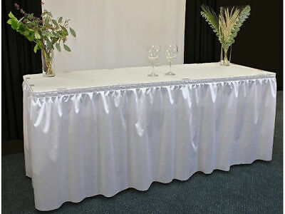 14' Polyester Pleated Table Skirt White Table Skirts USA Made Not Cheap Chinese