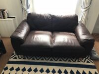 Free 2 seater sofa - good condition, brown leather look