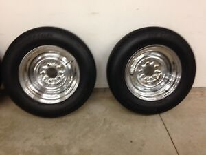 Chrome reverse rims and like new tires.