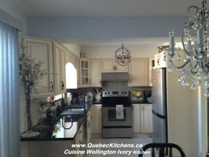 Kitchen Cabinets All-Wood, Granite Counter Laval Customer Happy