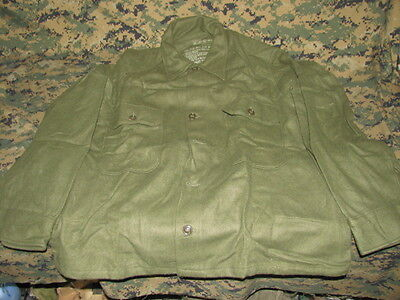 field shirt wool olive green 108 SMALL NOS military sweater hunting 77 dated USA ()
