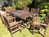 Solid teak garden dining table and six chairs
