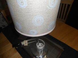 cream lampshade with blue specs