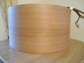 Large bespoke cherry wood veneer lampshade
