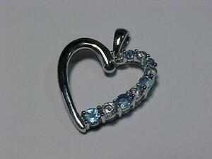 #3000-10K WHITE GOLD Heart Pendant-White/Blue Topaz  FREE SHIPPING in Canada-BBB Accredited Business-