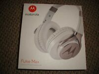 brand new pair of white motorola pulse max over ear wired headphones