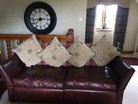 2 Sofas For Sale - one leather and one in a co-ordinating fabric