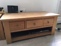 Solid oak TV unit with three drawers