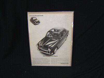 Vintage Peugeot 403 Advertisement Car & Driver Magazine June, 1962 f/s VGC