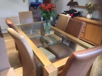 Dining Table and six leather style chairs