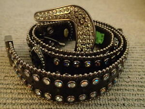 NEW Genuine Leather Black with Bling Size M-L