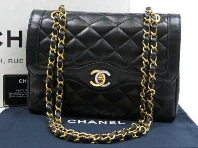 Authentic CHANEL Classic double flap chain shoulder bag lambskin black r39835