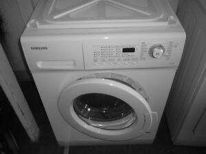 FRONT LOAD WASHER AND DRYER SET, 24 INCH WIDE, EXCELLENT SHAPE