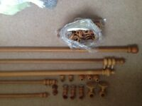 Selection of 5 x Wooden Curtain Poles with fittings - £30 the lot