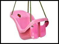 NEW pink/red plastic baby/ toddler swing seat with safety belt.