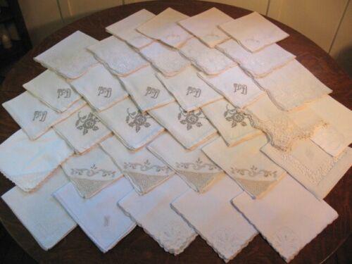 Lot of 33 Vintage Napkins Organdy Applique Embroidery Drawnwork Monogram Crochet