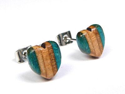 RECYCLED SKATEBOARD Wooden HANDMADE Heart Studs Earrings Wood Stud Colourful
