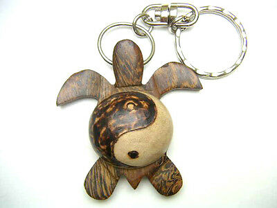 Hawaiian Souvenir Natural Wood Key Chain ~ Turtle # 19093 (QTY 2)