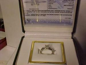 #910-STUNNING 14K W/Gold WEDDING SET-.97CT PRINCESS CUT/BAND-SIZE 7 1/4-appraised $9,750.00-Your for just $2,795.00
