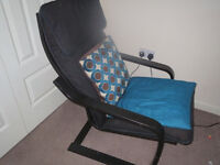 Black Ikea Poang chair, black frame & cover, no foot stool, smoke/pet free home, suit bedroom office