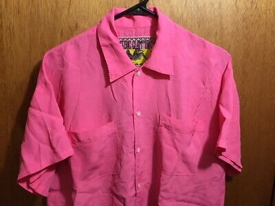 W'S RARE $399 HYSTERIC GLAMOUR OVERSIZE HOT PINK RAYON BLOUSE BUTTON SHIRT 47 XL