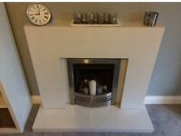 **Vantage Open Fronted Gas Fire 16inch in brushed steel**