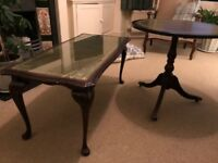 Vintage Regency-style mahogany side table and coffee table