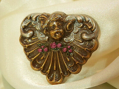 Super Sweet Brass Tone Repousse Heart Cherubim Enamel Angels Brooch Cute 482A7