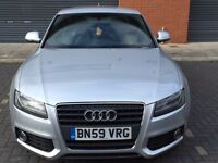 AUDI A5 2.0 TDI SLINE COUPE XENONS LEATHERS BLACK 59 PLATE SILVER