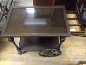 Beautiful Antique Tea Wagon with Glass Serving Tray