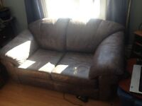 Grey Leather Couch - 2 seat