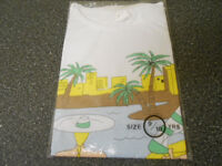 Girls T Shirt ages 9-10. White with beach and sea print