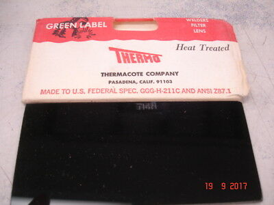Vintage Welding Lens 2x4-14 Shade 14 Thermo Green Label Eclipse Lens Heat Treat