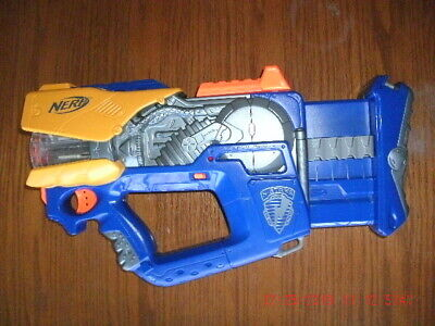 Nerf N-Strike Firefly Rev-8 Blaster light up Dart Gun, blue, works perfectly EUC