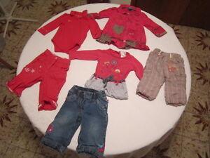 6 morceaux pour fille 9-12 mois (marques Gagou Tagou, Krickets)