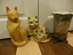 cat lovers, 2 different cat statues, and one big-cat vase London Ontario image 1