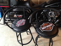 HARLEY DAVIDSON SWIVAL BAR STOOLS, NEW.  200.00