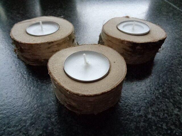 Teelichthalter aus Birkenholz, Holz, Birkenscheiben für Teelicht, NEU