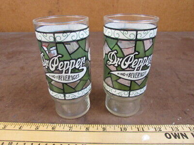 2 Vintage Dr Pepper King Of Beverages Stained Glass Pattern Drinking Glass Green