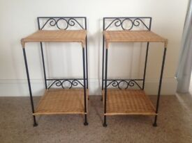 Pair of wicker and wrought iron bedside tables, as new.