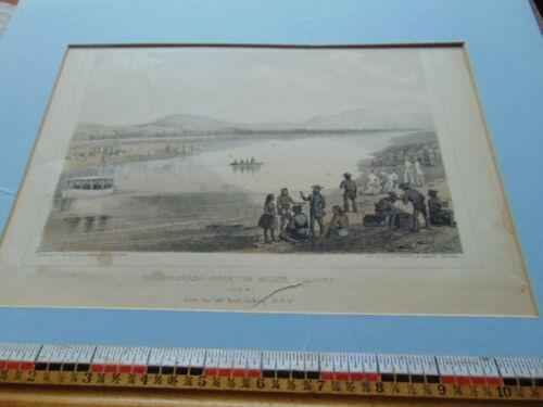 Antique lithograph- Rio Colorado- Near the Mojave Villages- Solders & Natives