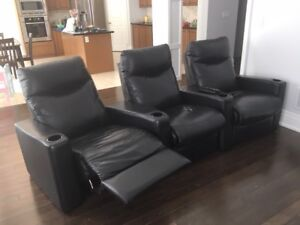 Leather Recliners - Theater Style Seating. Set of 3