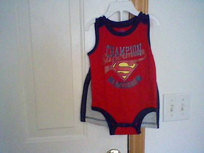 BRAND NEW INFANT BOYS SIZE 6-9 MONTH DC COMICS SUPERMAN 2 PIECE SHORT SET - Superman Baby