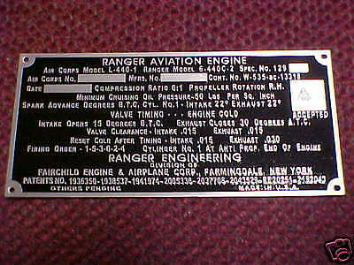 Ranger Aircraft Engine data plate Acid Etched Aluminum 1930s - 1950s